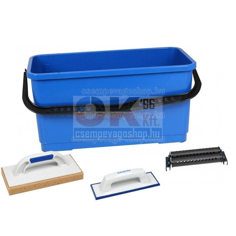 Burkoló mosóvödör 20 liter, görgő +lemosószivacs+fugaanyag behúzógumi (mak1512cs1)
