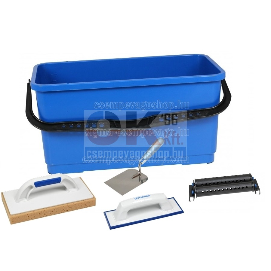 Burkoló mosóvödör 20 liter, görgő +lemosószivacs+fugaanyag behúzógumi+kanál (mak1512cs2)
