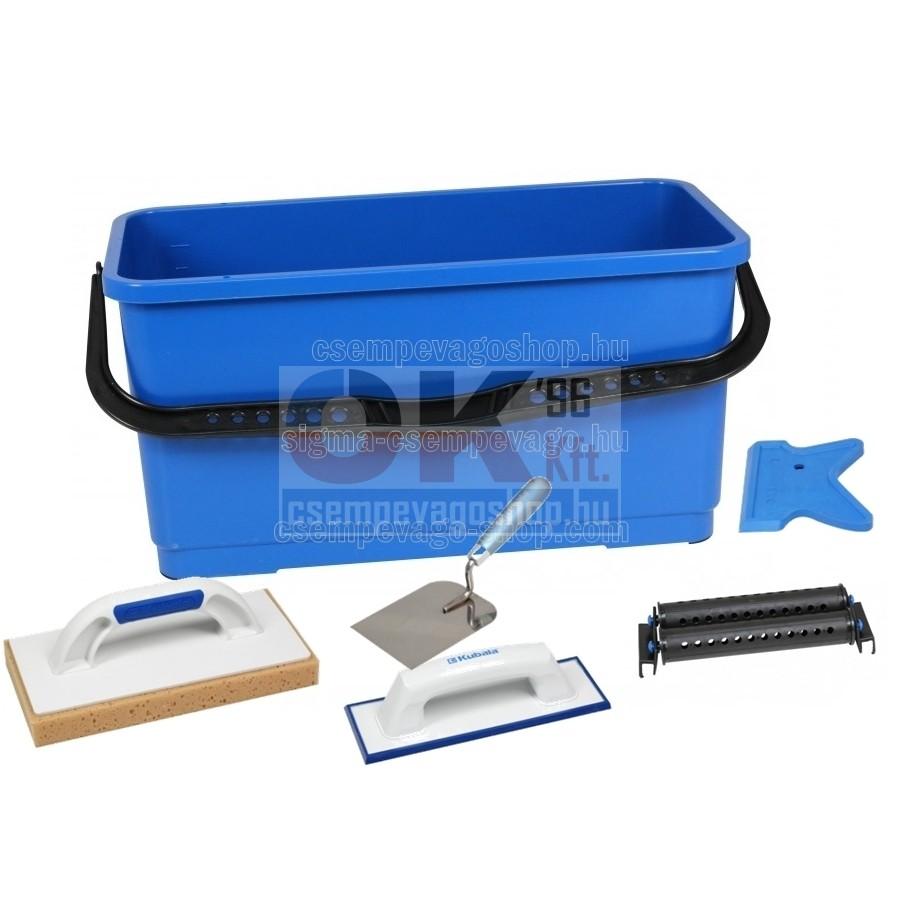 Burkoló mosóvödör 20 liter, görgő +szivacs+behúzógumi +kanál+szilikon kihúzó gumi (mak1512cs3)