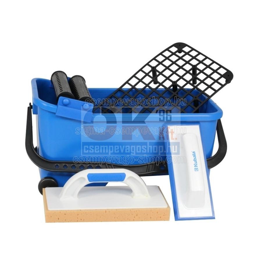 Burkoló mosóvödör 16 liter, görgő+rács +lemosószivacs+fugaanyag behúzógumi (mak1520cs1)
