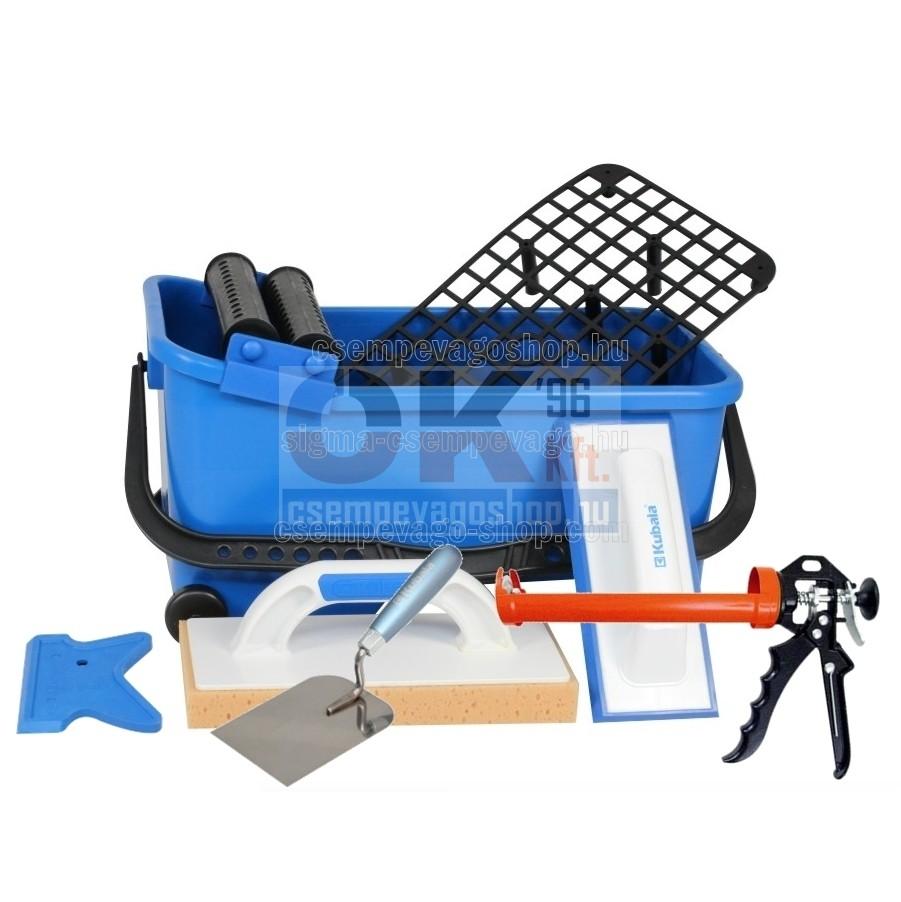 Burkoló mosóvödör 16 liter, görgő+rács +szivacs+behúzógumi +kanál+szilikonozó készlet (mak1520cs4)
