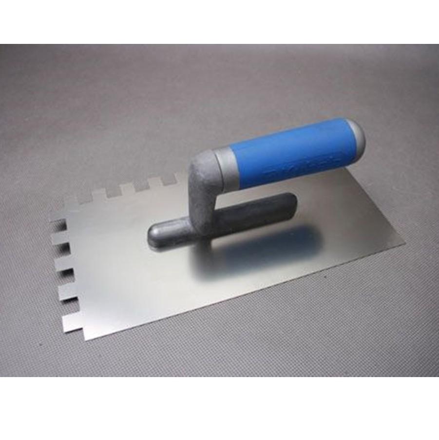 Kubala, Fém fogazott glettvas rozsdamentes soft nyél 130 x 270 mm, fog: 6x6 mm (mak0212)