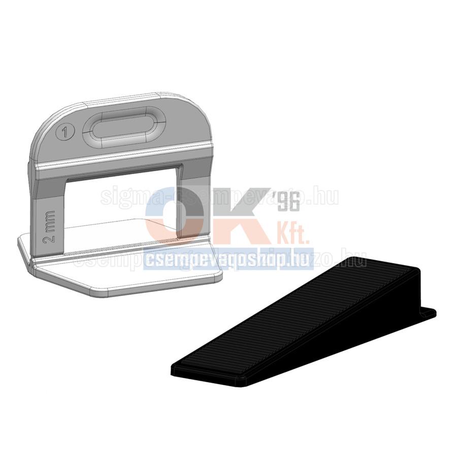 TLS100 ÉKES lapszintező, 100db ÉK + 500db TALP, 2mm fuga, 3-12mm laphoz (tls1002cs13)